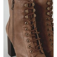 Tan Leather-Look Lace Up Chunky Heeled Boots New Look