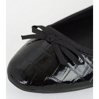 Wide Fit Black Patent Faux Croc Ballet Pumps New Look