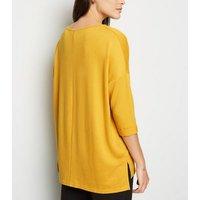 Mustard Roll Sleeve Fine Knit Jumper New Look