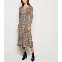 Brown Snake Print Soft Touch Midi Dress New Look