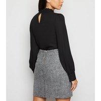 Light Grey Chevron Brushed Mini Skirt New Look