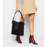 Black Leather-Look Side Stud Tote Bag New Look Vegan