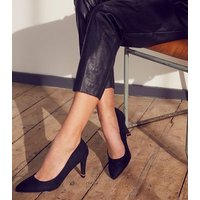 Black Suedette Pointed Metal Heel Courts New Look Vegan