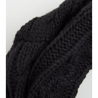 Black Cable Knit Snood New Look