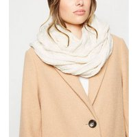 Cream Cable Knit Snood New Look