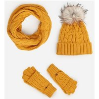 Mustard Cable Knit Snood New Look