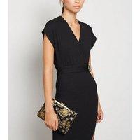 Black Floral Clip Clutch Bag New Look