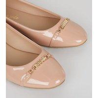 Pink Patent Chain Trim Ballet Pumps New Look Vegan