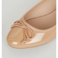 Camel Patent Bow Front Ballet Pumps New Look Vegan