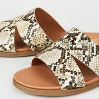 Wide Fit Stone Faux Snake Sliders New Look