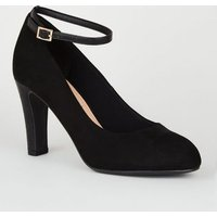 Black Suedette Round Toe Court Shoes New Look Vegan