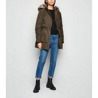 Khaki Faux Fur Hooded Puffer Jacket New Look