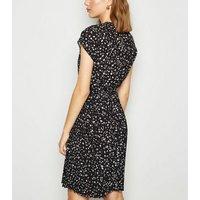 Black Leopard Print Pleated Mini Dress New Look