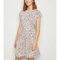 Off White Leopard Print Pleated Mini Dress New Look