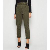 Khaki Denim High Waist Belted Utility Trousers New Look