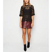 Black Crochet Mesh Top New Look