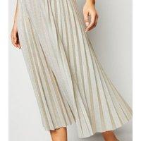 Petite Gold Glitter Pleated Midi Skirt New Look