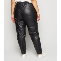 Curves Black Coated Leather-Look Joggers New Look