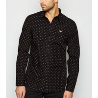 Black Geometric Print Moth Embroidered Shirt New Look