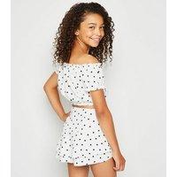 Girls White Spot Print Skort New Look