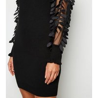 Blue Vanilla Black Leaf Sleeve Jumper Dress New Look