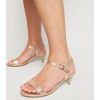 Wide Fit Rose Gold Kitten Heel Sandals New Look