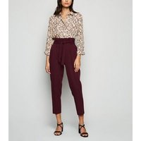 Burgundy High Waist Tapered Trousers New Look