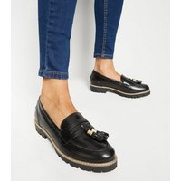 Black Leather Chunky Tassel Loafers New Look