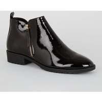 Black Patent Zip Side Flat Ankle Boots New Look Vegan