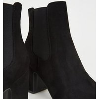 Black Suedette Block Heel Chelsea Boots New Look Vegan