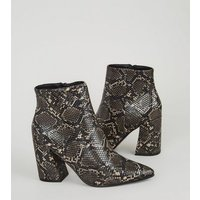 Black Faux Snake Point Heeled Boots New Look