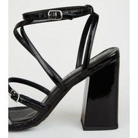 Black Patent Strappy Flared Block Heels New Look Vegan
