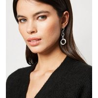 Silver Linked Ring Drop Earrings New Look