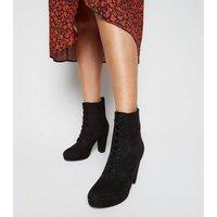 Black Suedette Lace Up Platform Heeled Boots New Look Vegan