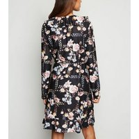 Mela Black Floral Soft Touch Wrap Dress New Look