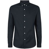 Navy Long Sleeve Muscle Fit Oxford Shirt New Look