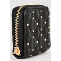 Black Quilted Leather-Look Card Holder New Look