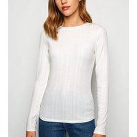 Off White Ribbed Stretch Long Sleeve T-Shirt New Look