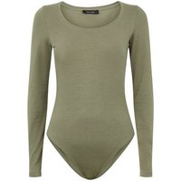 Khaki Scoop Neck Long Sleeve Bodysuit New Look