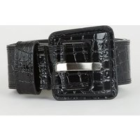 Black Patent Faux Croc Chunky Buckle Belt New Look