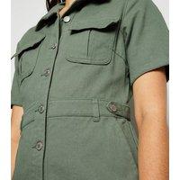 Urban Bliss Light Green Denim Utility Shirt Dress New Look