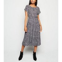Petite White Leopard Print Pleated Midi Dress New Look
