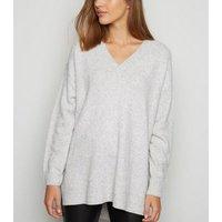 Pale Grey Knit Longline Jumper New Look