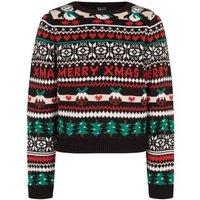 Girls Black Fair Isle Knit Christmas Jumper New Look