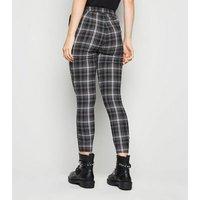 Black Check Zip Skinny Trousers New Look