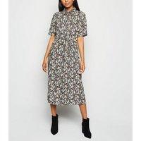 Petite Black Floral Midi Shirt Dress New Look