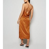 Urban Bliss Rust Cowl Back Satin Dress New Look