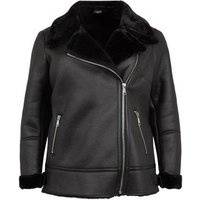 Curves Black Faux Fur Lined Aviator Jacket New Look