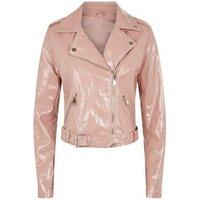 Urban Bliss Mid Pink Patent Biker Jacket New Look