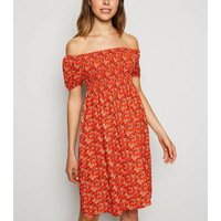 Cameo Rose Red Ditsy Floral Bardot Dress New Look